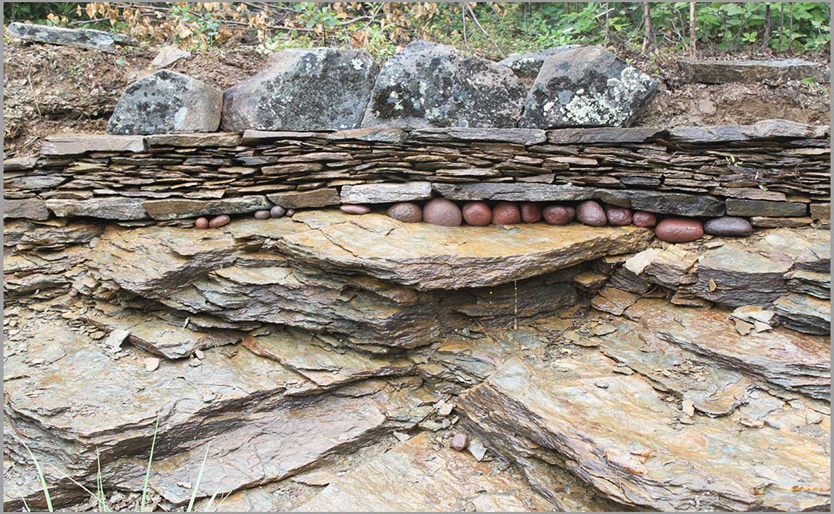 Red Stones dry stone wall Fairbanks Alaska Bedrock Stone Sanctuary