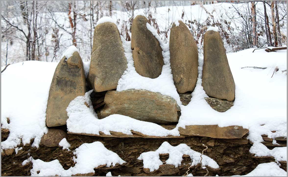 Winter comes to the stone bear paw at the Stone Sanctuary Fairbanks Alaska
