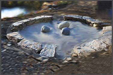 The sunken enso, 14 feet wide, at the stone sanctuary in Fairbanks, Alaska