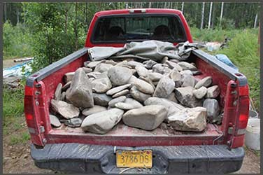A truckload of stones for the stone sanctuary in Fairbanks, Alaska