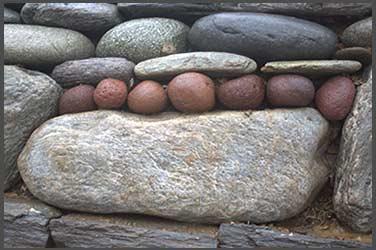 Rock wall, portal to the stone sanctuary in Fairbanks, Alaska